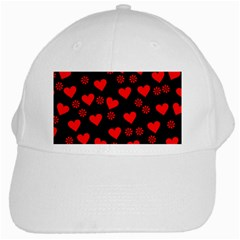 Flowers And Hearts White Cap