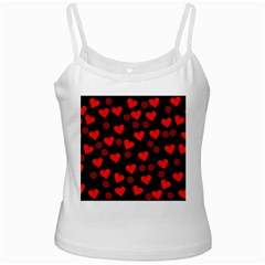 Flowers And Hearts White Spaghetti Tanks