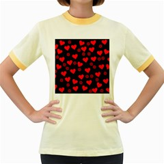 Flowers And Hearts Women s Fitted Ringer T-Shirts