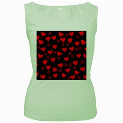 Flowers And Hearts Women s Green Tank Tops