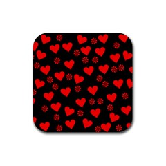 Flowers And Hearts Rubber Square Coaster (4 pack)