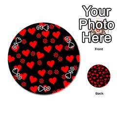 Flowers And Hearts Playing Cards 54 (Round)