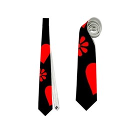 Flowers And Hearts Neckties (One Side)