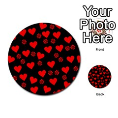Flowers And Hearts Multi Purpose Cards (round)