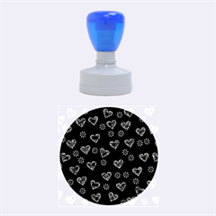 Flowers And Hearts Rubber Round Stamps (Medium)