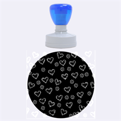 Flowers And Hearts Rubber Round Stamps (Large)