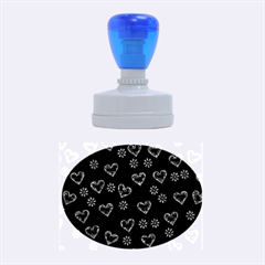 Flowers And Hearts Rubber Oval Stamps