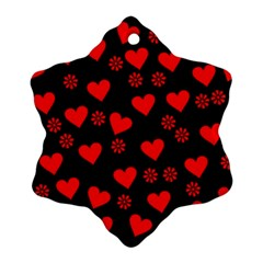 Flowers And Hearts Snowflake Ornament (2-Side)