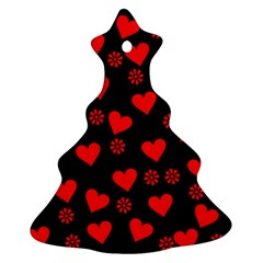 Flowers And Hearts Christmas Tree Ornament (2 Sides)