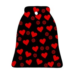 Flowers And Hearts Bell Ornament (2 Sides)