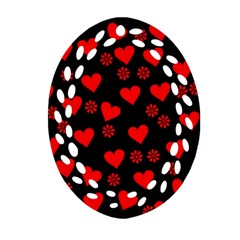 Flowers And Hearts Oval Filigree Ornament (2-Side)