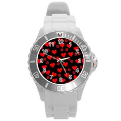 Flowers And Hearts Round Plastic Sport Watch (L)