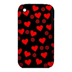 Flowers And Hearts Apple iPhone 3G/3GS Hardshell Case (PC+Silicone)