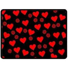 Flowers And Hearts Double Sided Fleece Blanket (Large)