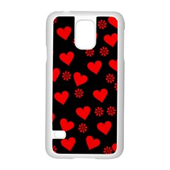 Flowers And Hearts Samsung Galaxy S5 Case (White)