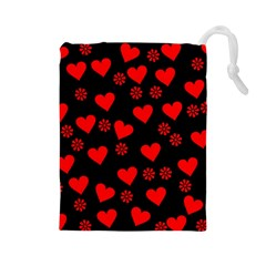 Flowers And Hearts Drawstring Pouches (large)