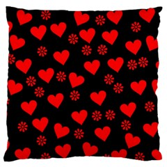 Flowers And Hearts Standard Flano Cushion Cases (two Sides)