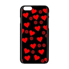 Flowers And Hearts Apple iPhone 6/6S Black Enamel Case