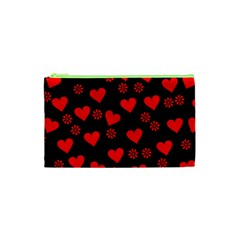 Flowers And Hearts Cosmetic Bag (xs)