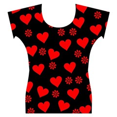Flowers And Hearts Women s Cap Sleeve Top