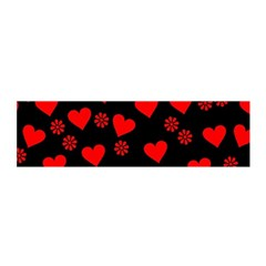 Flowers And Hearts Satin Scarf (Oblong)