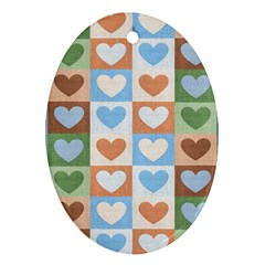 Hearts Plaid Ornament (Oval)
