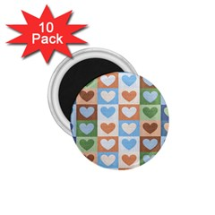 Hearts Plaid 1.75  Magnets (10 pack)