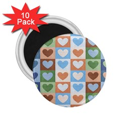Hearts Plaid 2 25  Magnets (10 Pack)