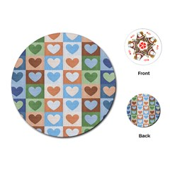 Hearts Plaid Playing Cards (round)