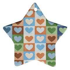 Hearts Plaid Star Ornament (Two Sides)