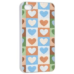 Hearts Plaid Apple iPhone 4/4s Seamless Case (White)