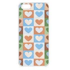 Hearts Plaid Apple iPhone 5 Seamless Case (White)