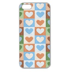 Hearts Plaid Apple Seamless iPhone 5 Case (Clear)