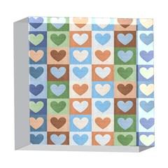 Hearts Plaid 5  x 5  Acrylic Photo Blocks