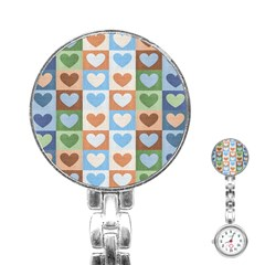 Hearts Plaid Stainless Steel Nurses Watches