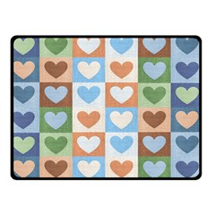 Hearts Plaid Double Sided Fleece Blanket (Small)