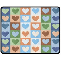 Hearts Plaid Double Sided Fleece Blanket (medium)
