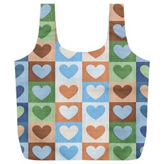 Hearts Plaid Full Print Recycle Bags (L)