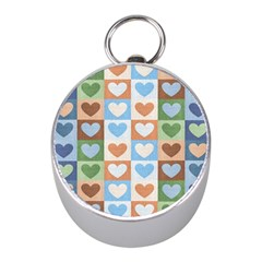 Hearts Plaid Mini Silver Compasses