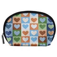 Hearts Plaid Accessory Pouches (Large)