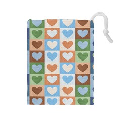 Hearts Plaid Drawstring Pouches (Large)