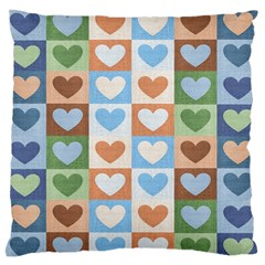 Hearts Plaid Large Flano Cushion Cases (one Side)