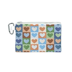Hearts Plaid Canvas Cosmetic Bag (S)