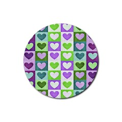 Hearts Plaid Purple Rubber Round Coaster (4 pack)