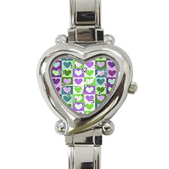 Hearts Plaid Purple Heart Italian Charm Watch