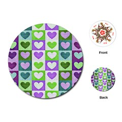 Hearts Plaid Purple Playing Cards (Round)