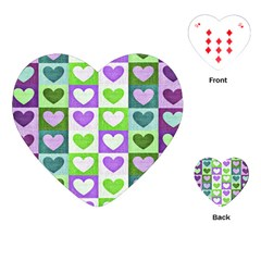Hearts Plaid Purple Playing Cards (Heart)