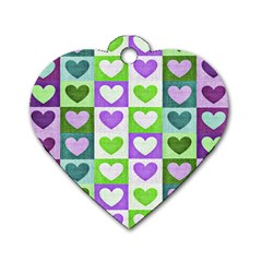Hearts Plaid Purple Dog Tag Heart (Two Sides)
