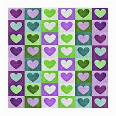 Hearts Plaid Purple Medium Glasses Cloth (2 Side)
