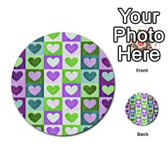 Hearts Plaid Purple Multi-purpose Cards (Round)